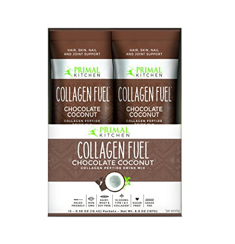 Primal Kitchen Collagen Fuel Protein On The Go Packets, Chocolate Coconut, 12 Count - Non-Dairy Coffee Creamer, Supports Healthy Hair, Skin, Nails and Joints, Promotes Muscle Repair 6.9 oz