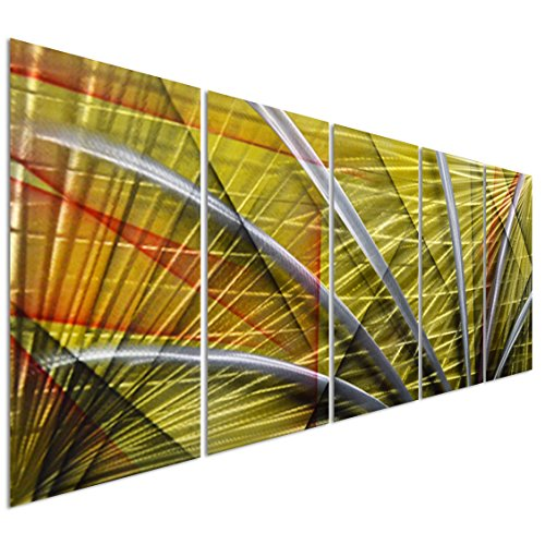 Silver Abstract Figurative Lines on Yellow – Large Modern Metal Wall Art Decor – Set of 5 Panels Sculpture for Kitchen…
