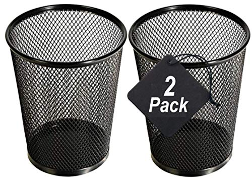 1InTheHome Big Tall Pencil Cup, Black Wire Mesh ''2 Pack'' (Black Jumbo) Black Mesh Jumbo Pencil Holder