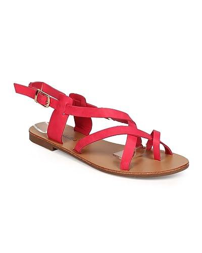 467b478222 Amazon.com | Women Leatherette Toe Ring Criss Cross Slingback Sandal EC89 |  Flats