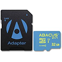 Abacus24-7 32GB micro SD Memory Card [SD Adapter] for Samsung Galaxy S7 Edge, S8, S7 Active, Galaxy S5, Note 8, Note 4, Note 3, Grand Prime, Galaxy Alpha, Galaxy A5, A3, Galaxy S5 Active, S4, J7, J3