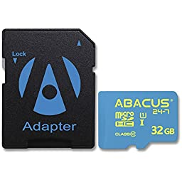 Abacus24-7 32GB micro SD Memory Card [SD Adapter] for Samsung Galaxy S7 Edge, Plus, A5, A7, Galaxy S5 Active, Grand Prime, J3 Emerge, J5, J7 V, Core Prime, Note 3, Note 4, Note 8, S4 and others