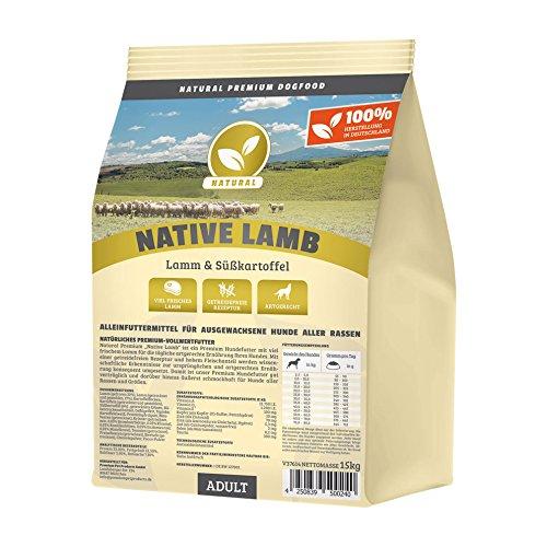 Hundeland Natural | Native Lamb | 1 kg | Lamm + Süßkartoffel | getreidefreies Hundefutter | Trockenfutter für alle Hunderassen | viel frisches Fleisch | artgerecht & besonders gut verträglich