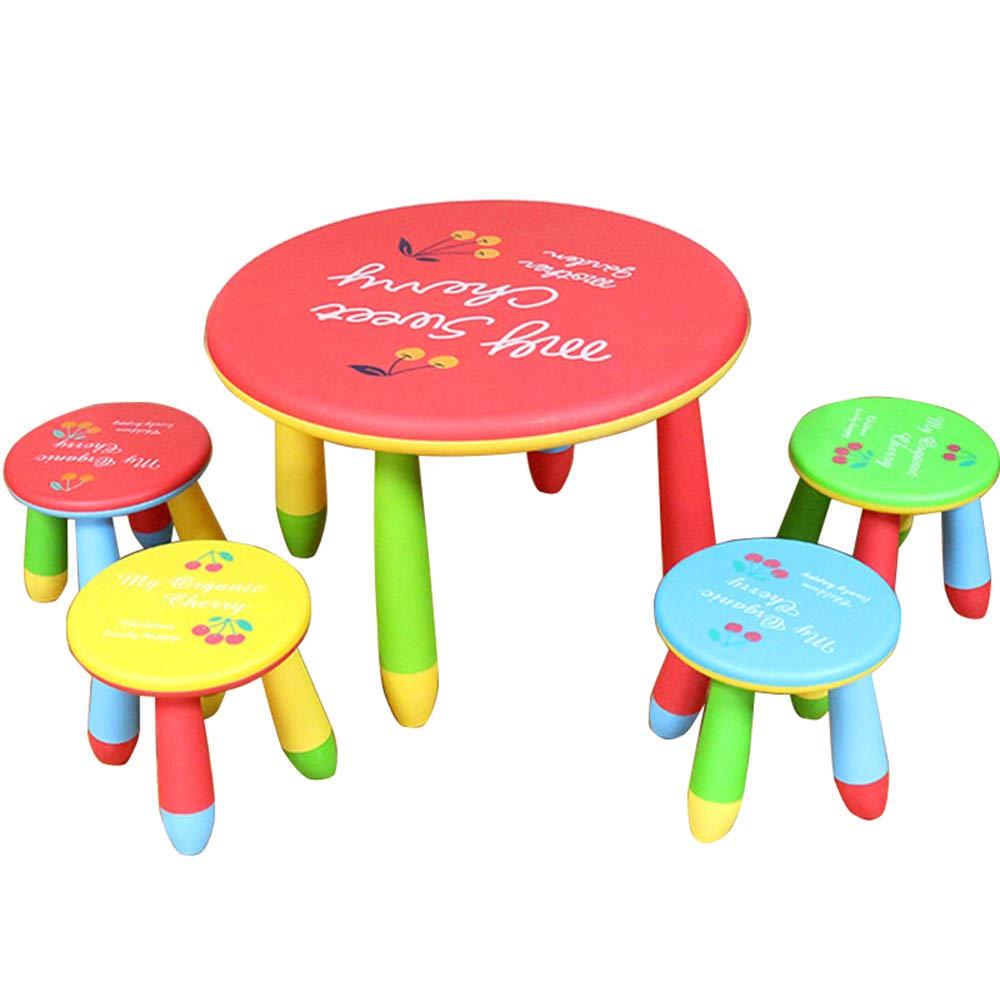 子供用のテーブルとチェアの組み合わせ、家庭用赤ちゃんの学習玩具ゲームテーブル、プラスチック製のラウンドテーブル、取り外し可能 B07QZ39S72 red
