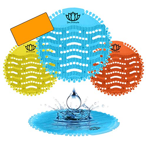 Urinal Screens & Premium Deodorizer (12-Pack of Fresh Urinal Mats) by Zen Products -Anti-Splash & Odor Neutralizer - Ideal for Bathrooms, Restrooms, Offices, Schools, etc. (Blue (Mango Scent))