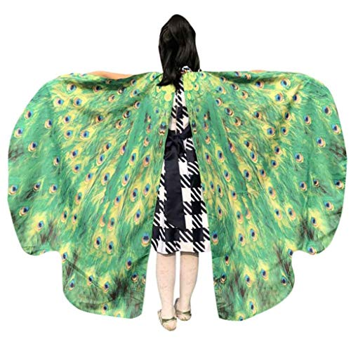 iDWZA Kid Baby Girl Child Butterfly Wings Shawl Scarves Party Costume Accessory(136108cm,Green ) -