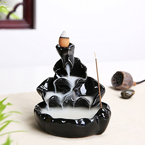 PIXNOR Handmade Incense Tower Burner | Backflow Incense Holder -All Together Now Style, Ideal for Yoga Room or Home Décor (Black)