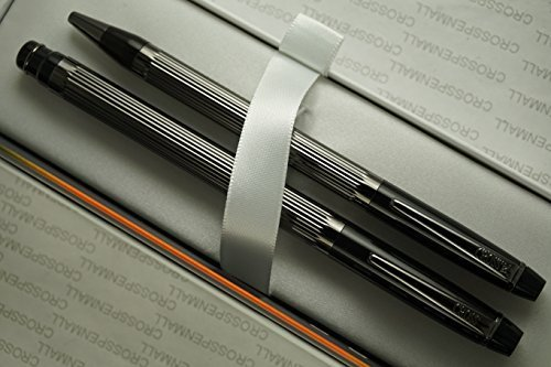 Refill Jumbo Ballpoint (Cross Made in USA Elite Art Deco Metropolis Jet Black , Polished and Ribbed Barrel Selectip Rollerball Pen and Ballpoint with Backup Jumbo and Ballpoint Refills by A .T CROSS COMPANY)