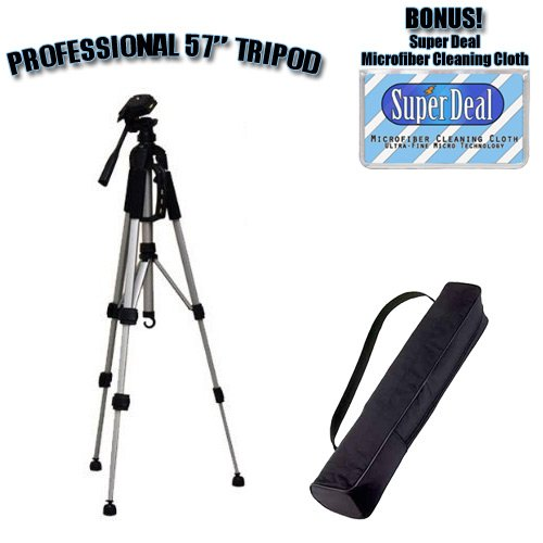 PROFESSIONAL 57 Inch Tripod with Carrying Case For The Panasonic Lumix DMC-FX3 , DMC-FX07 , DMC-FX10 , DMC-FX12 , DMC-FX50 , DMC-FX100 Digital Cameras with Exclusive FREE Complimentary Super Deal Micro Fiber Lens Cleaning Cloth by SUPER DEAL