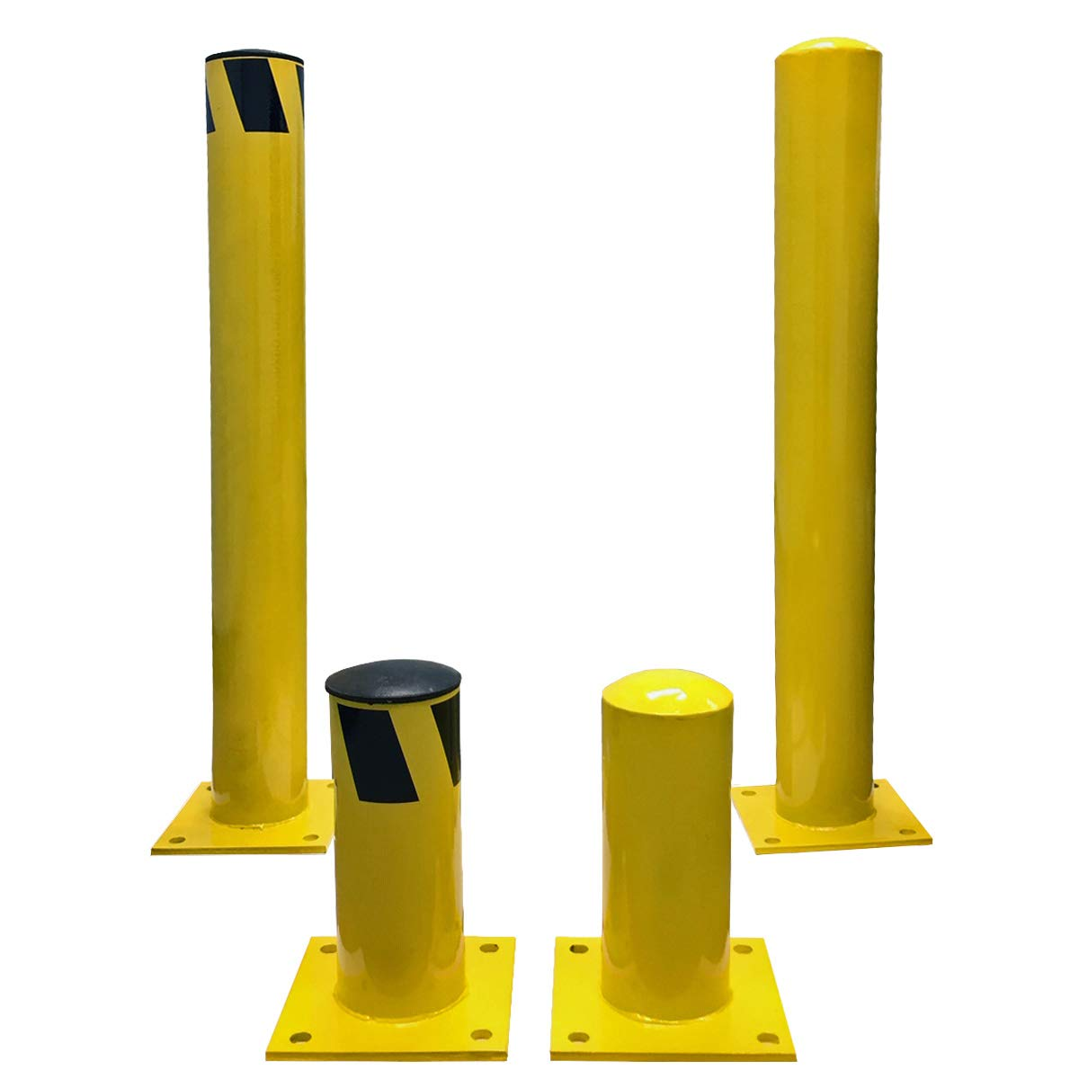 Electriduct 1 Foot Steel Pipe Safety Bollard Post Yellow/Black Stripe - Parking Lot Traffic Barrier (12'' Height - 4.5'' OD) - Pack of 4 by Electriduct (Image #4)