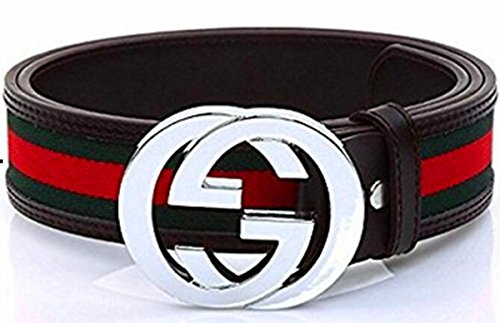 "Men's silver buckle GG belt 34""- 38"" (110CM)"