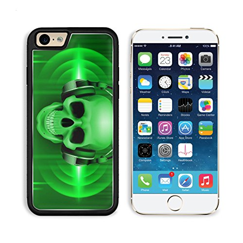 Liili Premium Apple iPhone 6 iPhone 6S Aluminum Backplate Bumper Snap Case iPhone6 ID: 28500930 Disco background with skull in headphones equalizer in green - Review Club Shades