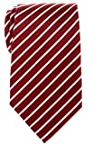 Retreez Thin Regimental Striped Woven Microfiber Men's Tie - Burgundy with White Stripe