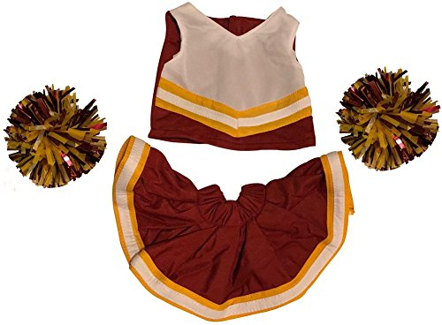 Cheerleader Outfit Teddy Bear Clothes Fit 15 inch Build-A-Bear, Vermont Teddy Bears, American Girl Doll and Make Your Own Stuffed Animals (Maroon and Gold) from Stuffaplush