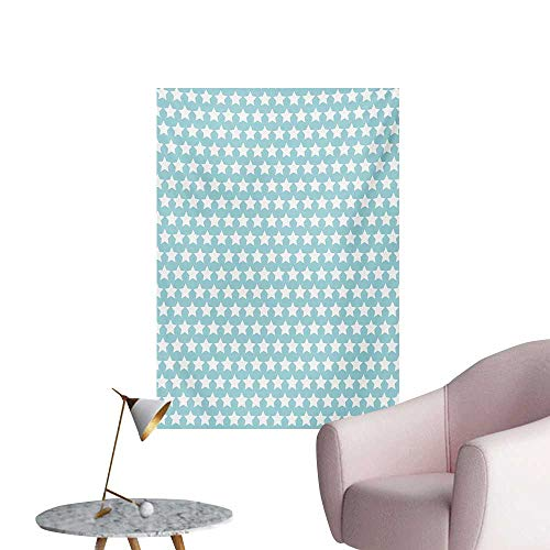 - Anzhutwelve Vintage Photo Wall Paper Geometrical Squares Crosswise Stripes Traditional Tartan Like Lattice PatternPale Blue White W24 xL36 Cool Poster