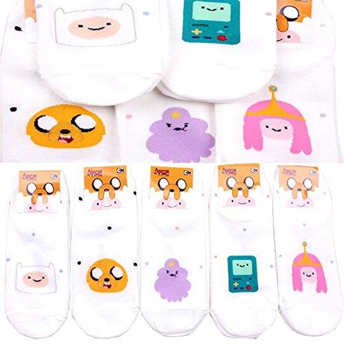 (Pack of 5 pairs Finn and Jake Adventure Time Dot Pattern Finn, Jake, Princess Bubblegum, Beemo, Lumpy Character)