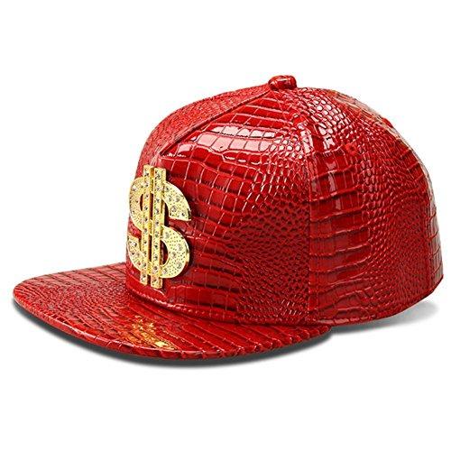 Hip Hop Hat,Flat-Brimmed Hat,Rock Cap,Adjustable Snapback Hat for Men and Women(Red) (Hats Hip Hop Women)