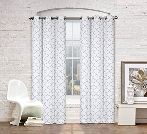 Regal Home Collections Premium Trellis Grommet Curtain Panels Taupe