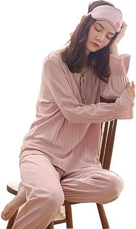 Camisones Conjunto De Pijamas Ropa De Dormir De Manga Larga Ropa De Dormir para Mujer Pijama De Algodón para Mujer Ropa De Mujer (Color : Pink, Size : S): Amazon.es: Hogar
