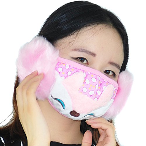 3PCS Comfort Cotton Rabbits And Foxes Cartoon Embroidery Winter Warm Mask Anti Dust Anti-fog Windproof Earmuff Masks