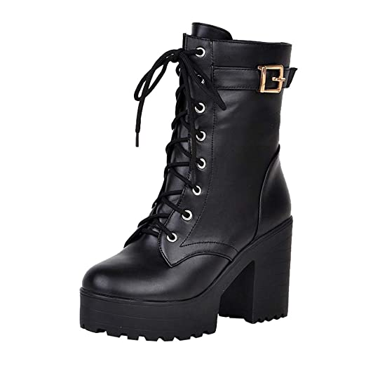 e69ded2c7951 Amazon.com  NDGDA Thick Heel Ankle Boots