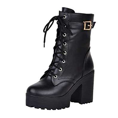 857e3c0bdc162 Sunmoot Leather Ankle Boots Women Chunky Square High Heel Lace Up Thick  Bottom Shoes Black