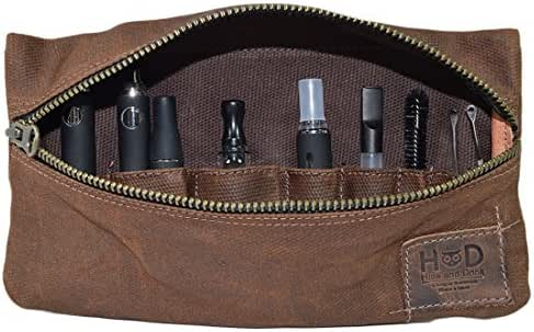 Waxed Canvas Vape Pen Accessories Kit Pouch Holder, Secure Fit, Cord Storage, G Pen Soft Travel Bag Handmade by Hide & Drink (Accessories not Included) :: Honey Bourbon