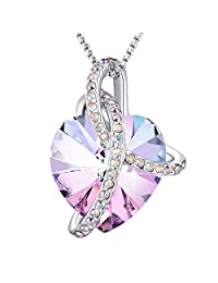 """Angelady"""" Eternity Of Love"""" Purple Heart Pendant Necklace of Swarovski Crystal Love Necklace for Her Gift"""
