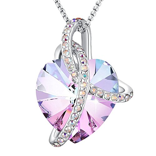 Angelady Gemstone Created Infinity Pendant Necklace Gifts for Women Girls Crystals from Swarovski (1) Wife Present Xmas Graduation Souvenir (For Present Valentines Her Day)