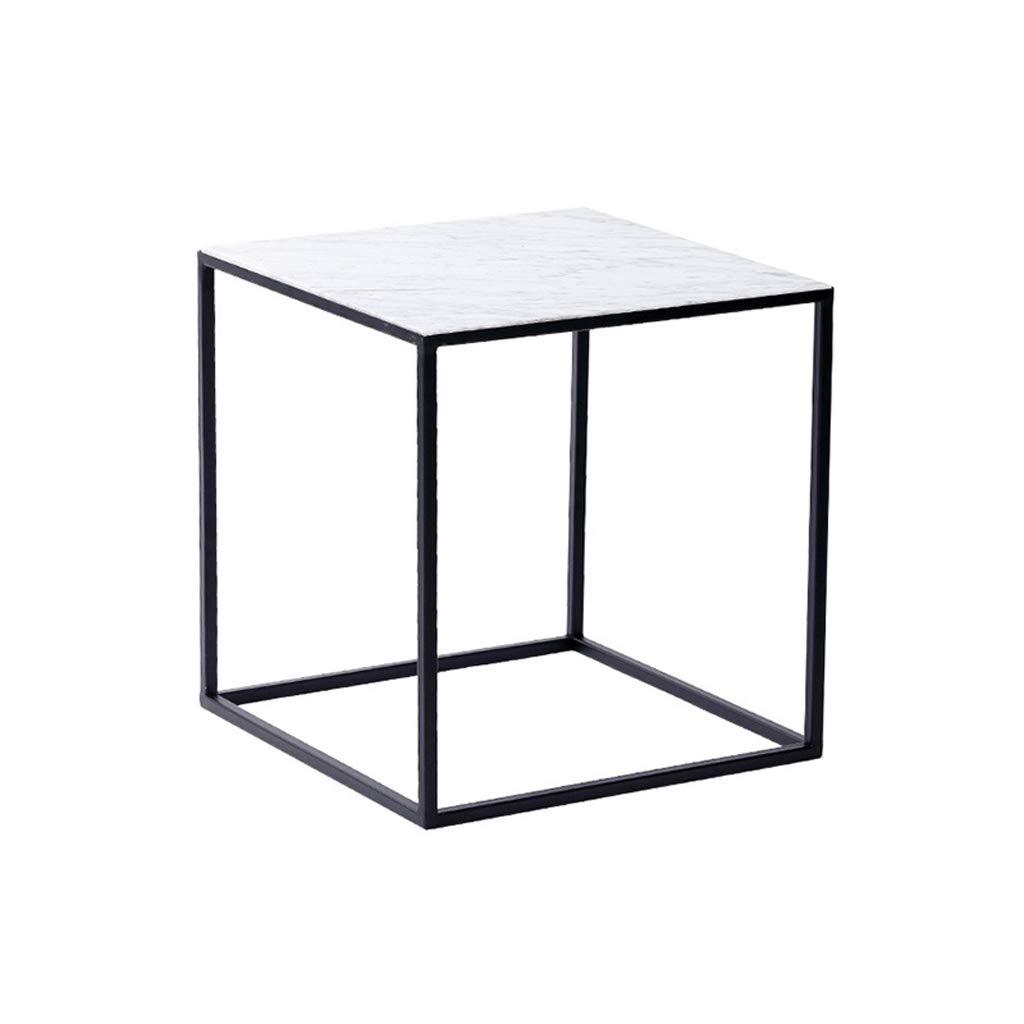 LHKJ Sala de Estar de m/ármol Peque/ña Mesa de Centro Simple Mini Mesa de Centro Cuadrada Moderno Hierro Forjado Casual Peque/ña Mesa Color : Blanco