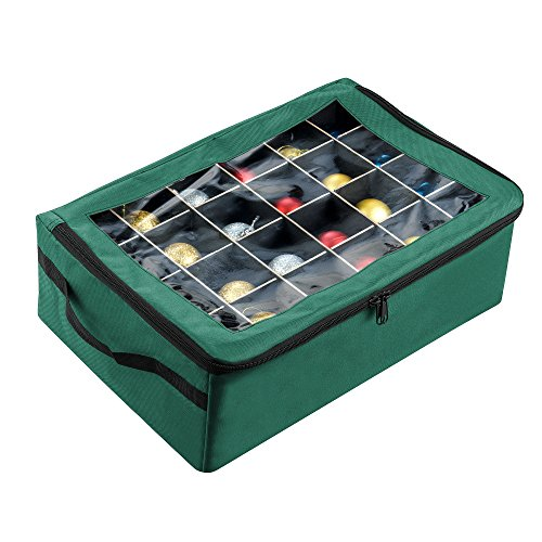 (Tiny Tim Totes 83-DT5575 Premium | 48 Christmas Ornament Organizer Storage Box | Green,)