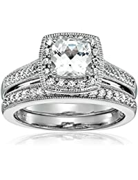 Sterling Silver Lab Created White Sapphire Bridal Set Ring
