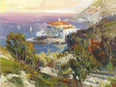 Oil Painting 'Landscape: The Building By The Sea', 18 x 24 inch / 46 x 61 cm , on High Definition HD canvas prints is for Gifts And Basement, Home Office And Home Theater Decoration, (Pre Order Lemon)