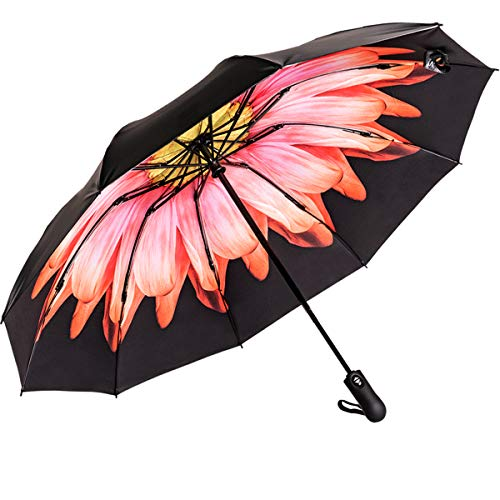 Viefin Reverse Folding Compact Travel Umbrellas for Women, Inverted Inside Out Sun Rain Woman Umbrella, Automatic Open Close, 10 Ribs-Red Flower