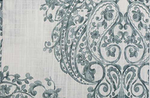 Nicole Miller Set Of 2 Long Window Panels Curtains Drapery Hidden Tabs 52  Inches By 96 Inches Blue / Gray Scroll Medallions On White