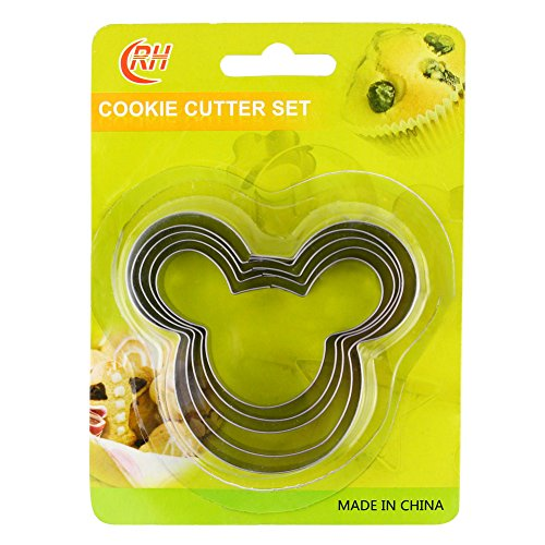 Fantastic Zone 5pcs Cookie Cutters, FDA Grade Stainless Steel, Various Size for Cookies, Sandwich, Thanksgiving, Christmas, Bakeware, Food, Bread, Gift for (Minnie Mouse Sandwich Cutter)