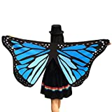 Ikevan Hot Selling Newset Women Girl Soft Fabric Butterfly Wings Shawl Scarf Fairy Ladies Nymph Pixie Costume Accessory 145x65cm (Blue 1)