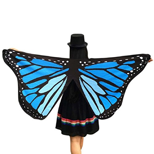 Ikevan Hot Selling Newset Women Girl Soft Fabric Butterfly Wings Shawl Scarf Fairy Ladies Nymph Pixie Costume Accessory 145x65cm (Blue (Pink Nymph Fairy Costume)
