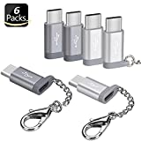 Micro USB Female To USB C Male Adapter (6 Packs), Basesailor Type C Keychain Charger, Works With Galaxy S9 S8 Plus Note 9, Google Pixel 3 XL, LG V35 V30 G7, ZTE Blade Zmax, And More (Silver & Gray)