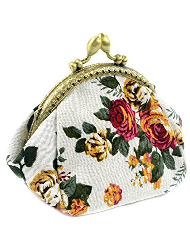 POPUCT Retro Women's Cute Classic Exquisite Buckle Coin Purse(white) ()