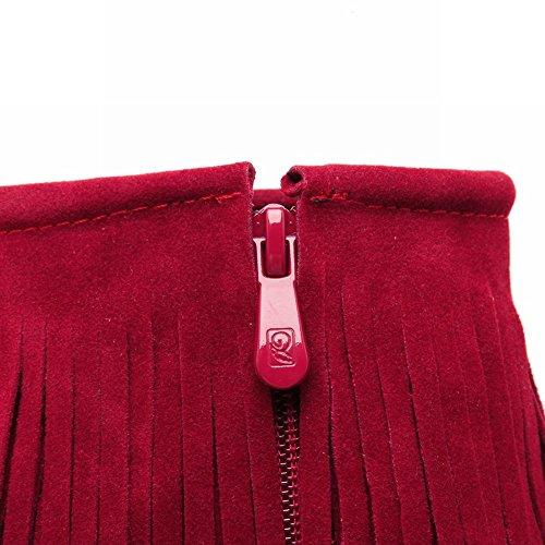 Carolbar Womens Zipper Tassels Chic Charm Date Platform Wedge Heel Dress Boots Red AfAMn