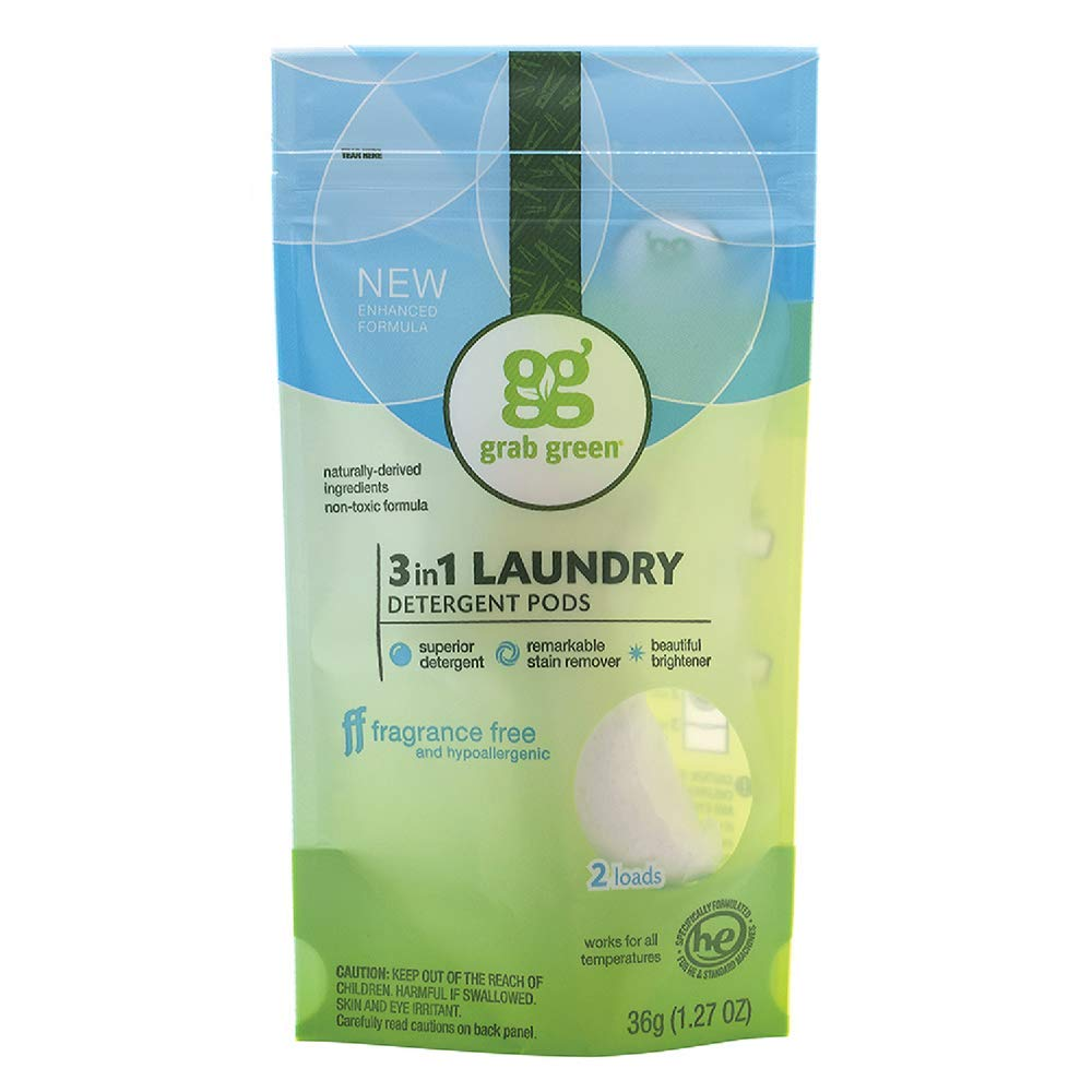 Grab Green Natural 3 in 1 Laundry Detergent Pods, Fragrance Free, 2 Loads, 250 Count Hospitality Size…