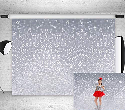 7x5ft Silvery White Stars Spots Bokeh Background Shinning Sparkle Sand Scale Backdrops for Baby Shower Birthday Carnival Party Kids Newborn Children Portrait Photo Studio BT-win0388-7x5FT ()