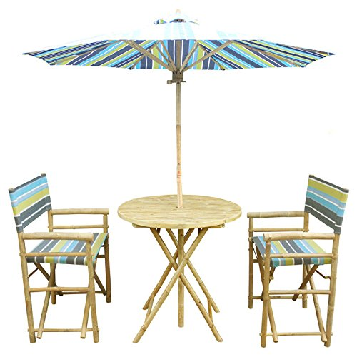 Zew 4 Piece Bamboo Outdoor Bistro Set with Round