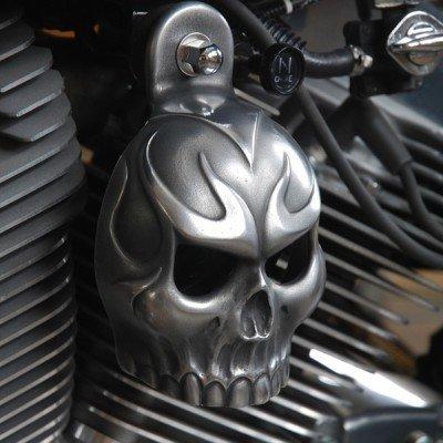 (Harley Aged Aluminum Evil Twin Skull Horn Cover)