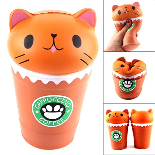 Wenjuan Relieve Stress Toy Gifts 14cm Cut Cappuccino Coffee Cup Cat Scented Squishy Slow Rising Squeeze Toy Collection Cure Gift Decor