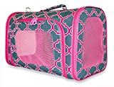Ever Moda Moroccan Print Pet Carrier Collection (Small, Quatrefoil - Grey Pink)