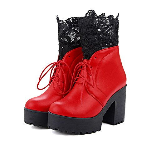 AllhqFashion Womens Round Closed Toe High Heels Low Top Solid Boots Red LE7P9tz