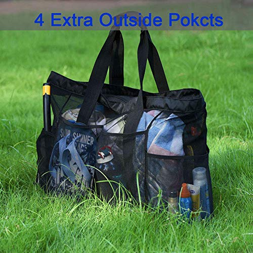 Extra Large Beach Bags and Totes / 30' XXL Mesh Tote Bag with Pockets & Zipper,...