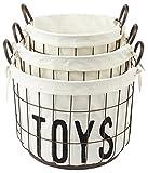 Mud Pie 3 Piece Wire and Canvas Toy Basket Set